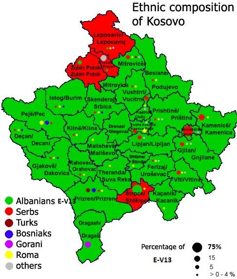 Dardania Kosovo ethnic E-V13 Population 2013