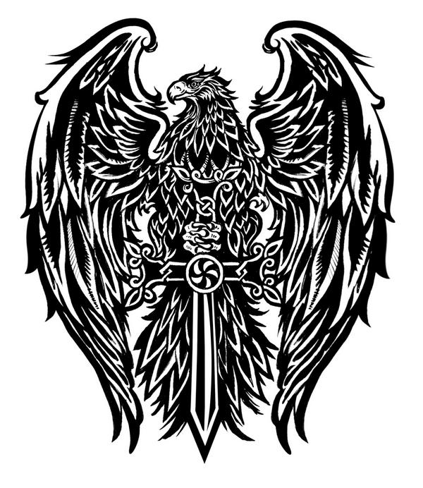 Hamitic symbol the eagle with cross