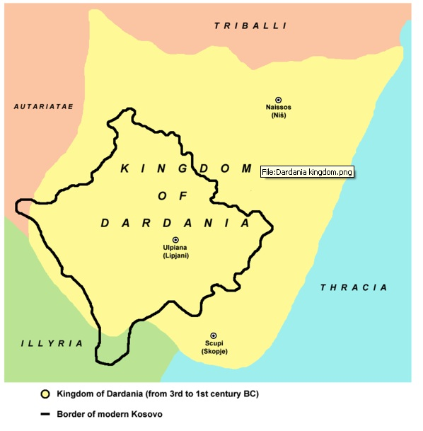 Kingdom of Dardania 100 BC with borders of modern Kosovo