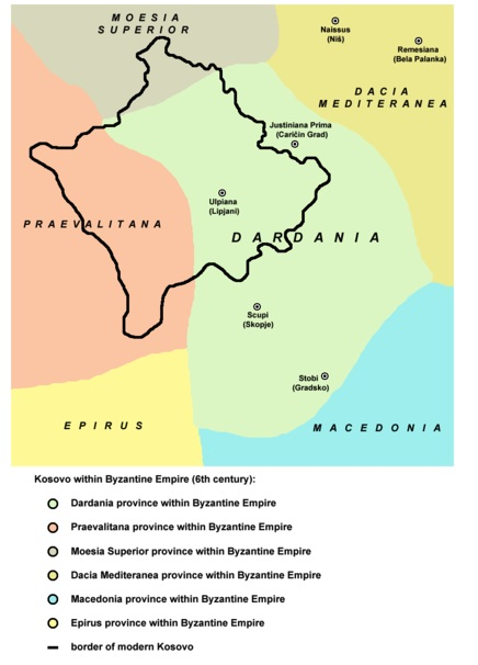 Kosovo Dardania 600 BC in the Byzantine Empire